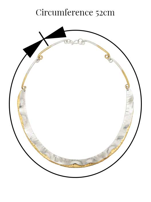 Soft Wave Necklet in Silver Circumference