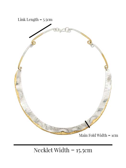 Soft Wave Necklet in Silver Dimensions